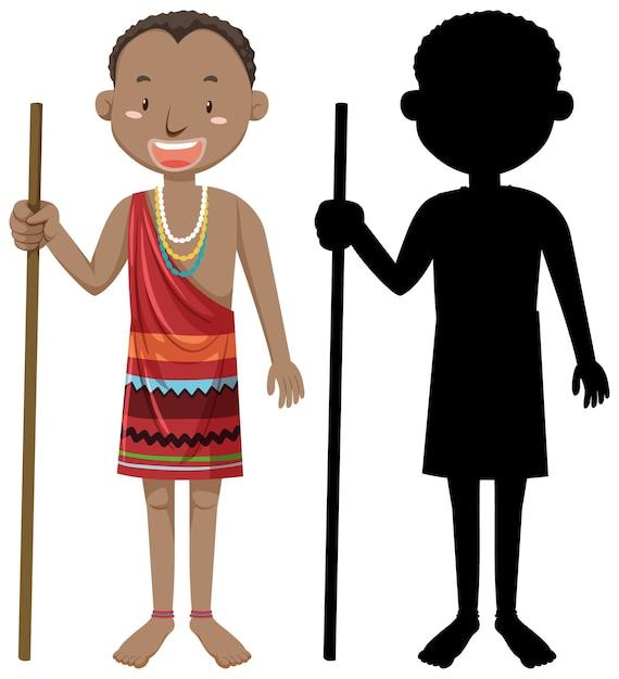 Conjunto de personas de carácter tribus africanas con su silueta vector gratuito