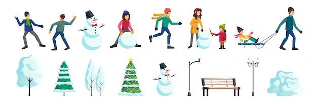 Conjunto de personas de la ciudad de invierno vector gratuito