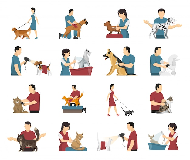 Conjunto de personas de cuidado de mascotas vector gratuito