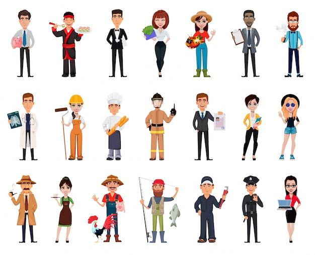 Conjunto de personas de diferentes profesiones Vector Premium