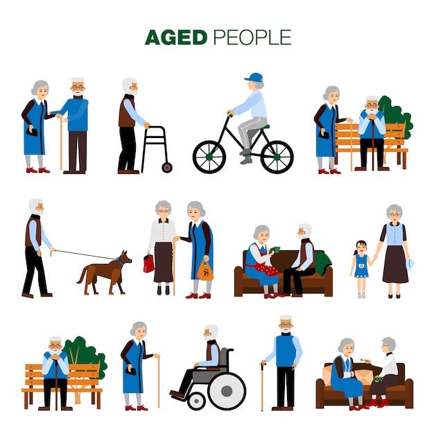 Conjunto de personas de edad avanzada vector gratuito
