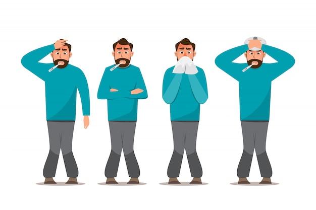 Conjunto de personas enfermas que se sienten mal, tienen resfriado, dolor de cabeza y fiebre Vector Premium