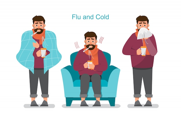 Conjunto de personas enfermas que se sienten mal Vector Premium