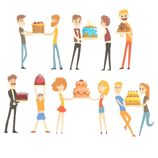 Conjunto de personas felices y amorosas celebrando aniversario con un pastel festivo personajes coloridos ilustraciones Vector Premium
