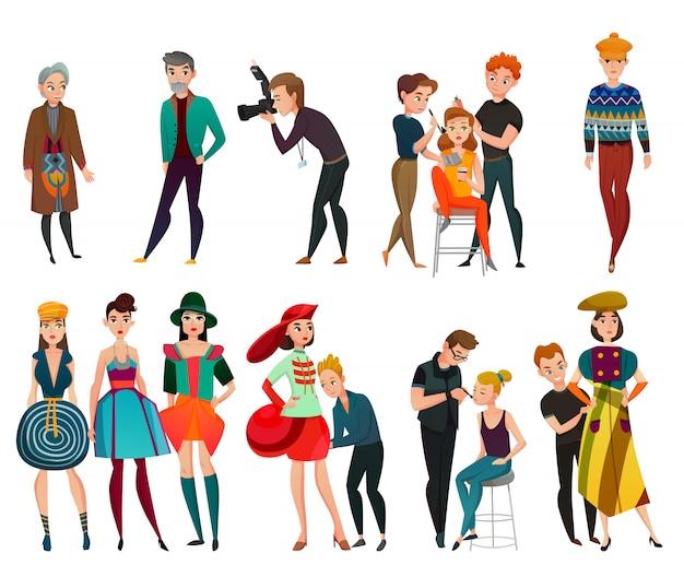 Conjunto de personas en la industria de la moda vector gratuito