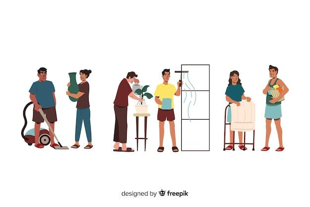 Conjunto de personas limpiando su hogar ilustrado vector gratuito