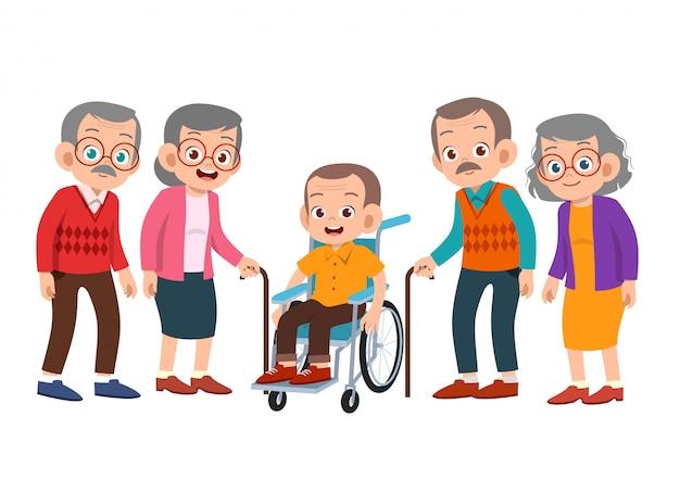 Conjunto de personas mayores Vector Premium