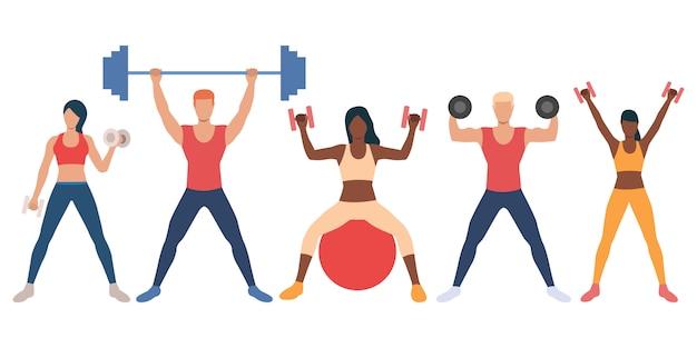 Conjunto de personas multiétnicas con pesas. vector gratuito