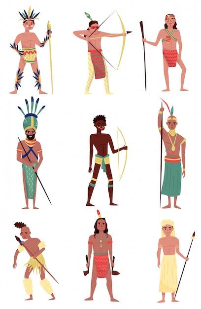 Conjunto de personas nativas armadas, indio americano, miembro de la tribu africana, personajes aborígenes australianos ilustraciones sobre un fondo blanco. Vector Premium