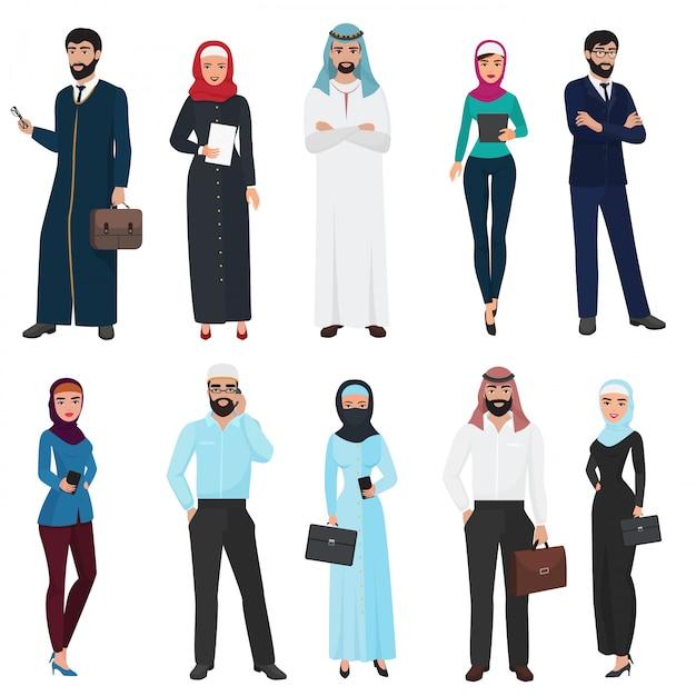 Conjunto de personas de negocios árabes musulmanes Vector Premium