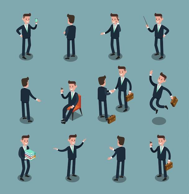 Conjunto de personas de negocios isométricas en la oficina, idea compartida, diseño gráfico vectorial de información 2 Vector Premium