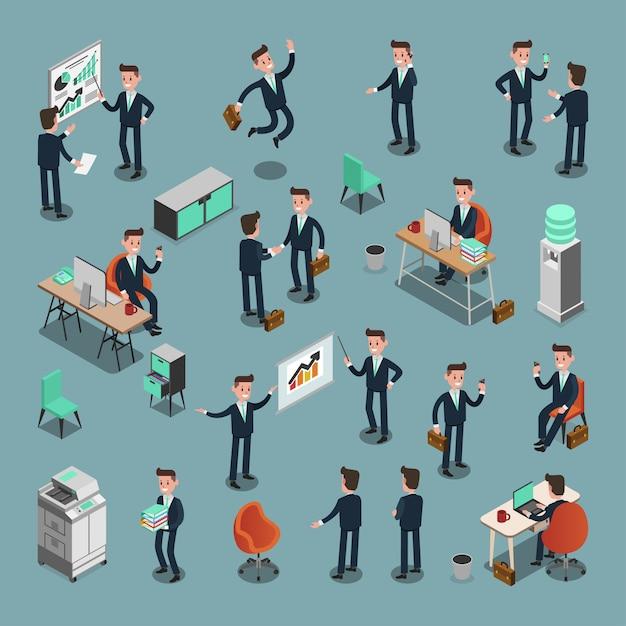 Conjunto de personas de negocios isométricas en la oficina, idea compartida, diseño gráfico vectorial de información Vector Premium