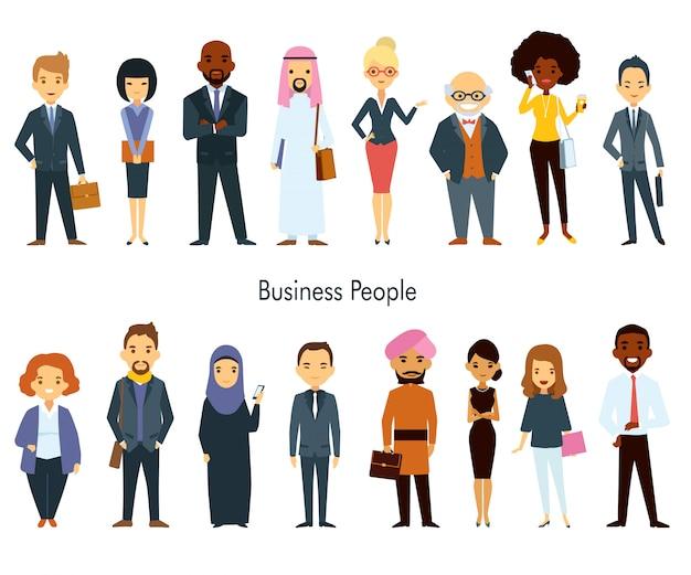 Conjunto de personas de negocios multi étnica equipo vector gratuito