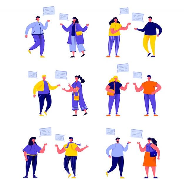 Conjunto de personas planas hablando entre sí con personajes de globos de diálogo Vector Premium