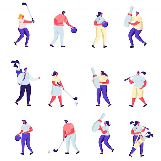 Conjunto de personas planas jugando al golf y personajes de bolos Vector Premium