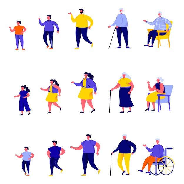 Conjunto de personas planas personajes de diferentes generaciones Vector Premium