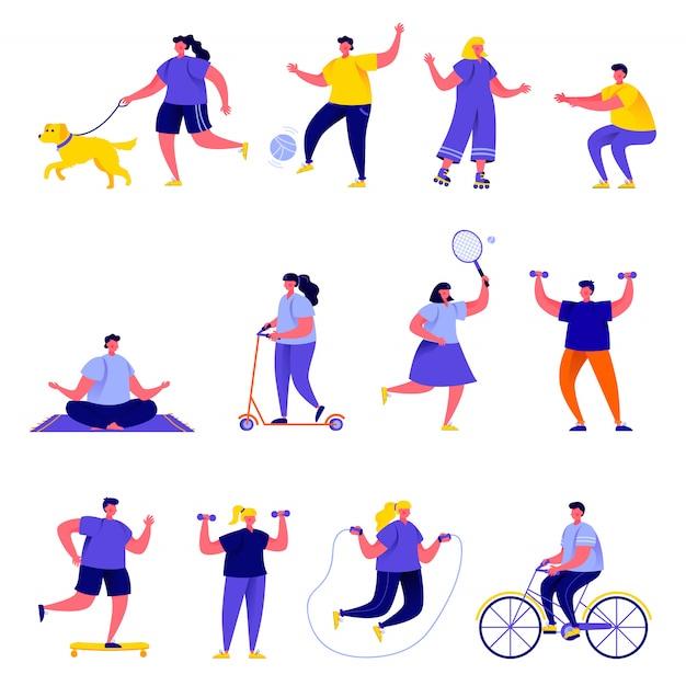 Conjunto de personas planas que realizan personajes de actividades deportivas Vector Premium