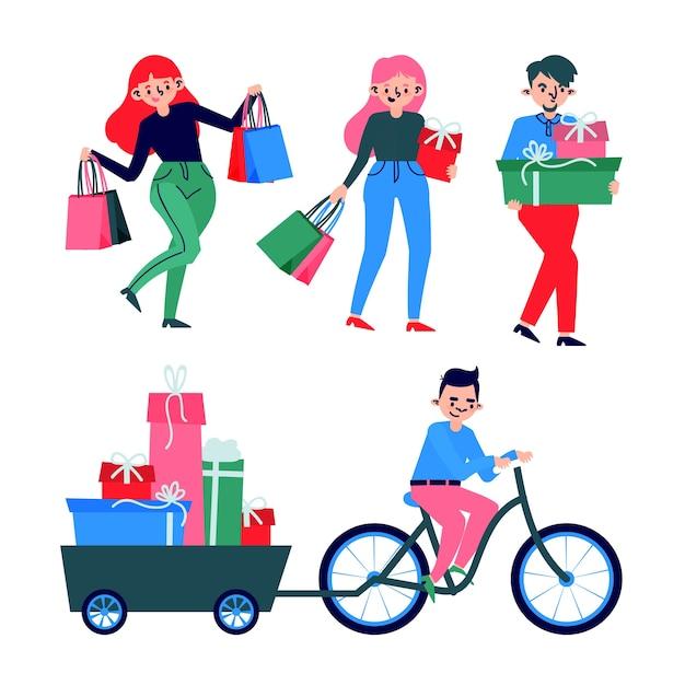 Conjunto de personas que compran regalos de navidad vector gratuito