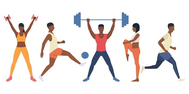 Conjunto de personas rudas entrenando con equipo deportivo. vector gratuito