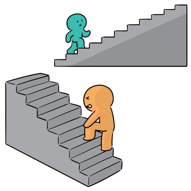 Conjunto de personas subir escaleras Vector Premium
