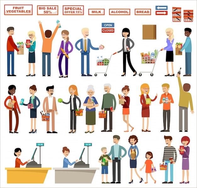 Conjunto de personas en un supermercado sobre un fondo blanco. compras, productos, compras Vector Premium