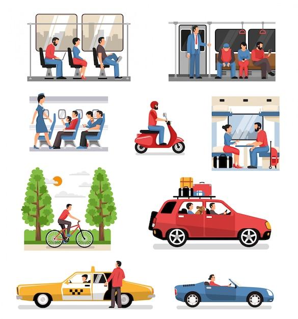 Conjunto de personas de vehículos de transporte vector gratuito