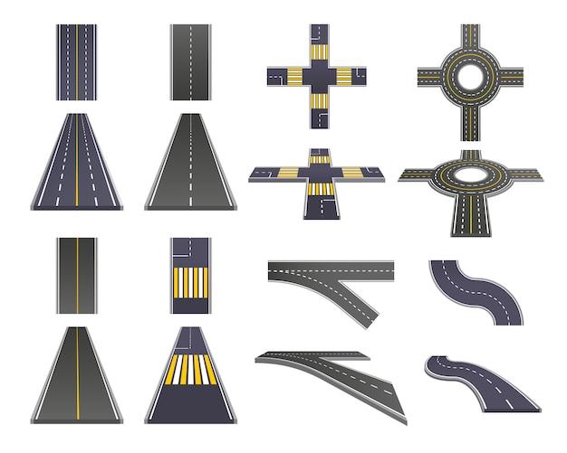 Conjunto de perspectiva de piezas de carretera vector gratuito