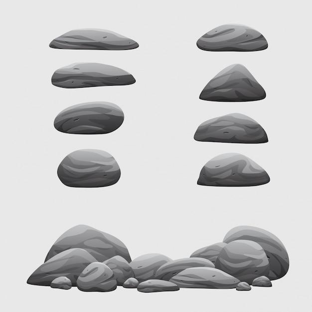 Conjunto De Piedra De Roca Colección De Ilustración De Dibujos