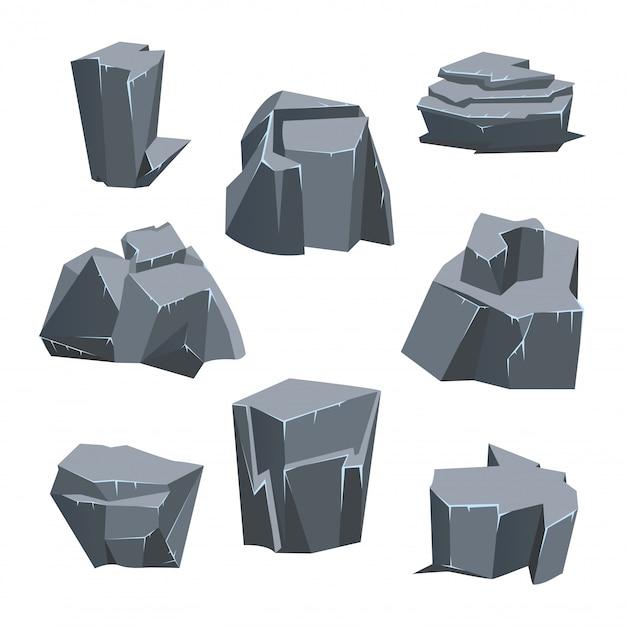 Conjunto de piedra de roca gris. ilustración, aislado en blanco. Vector Premium