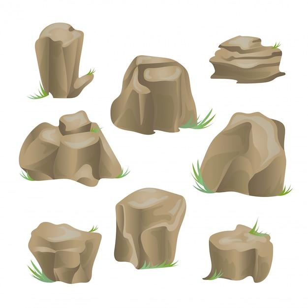 Conjunto de piedra de roca. ilustración, en blanco. Vector Premium
