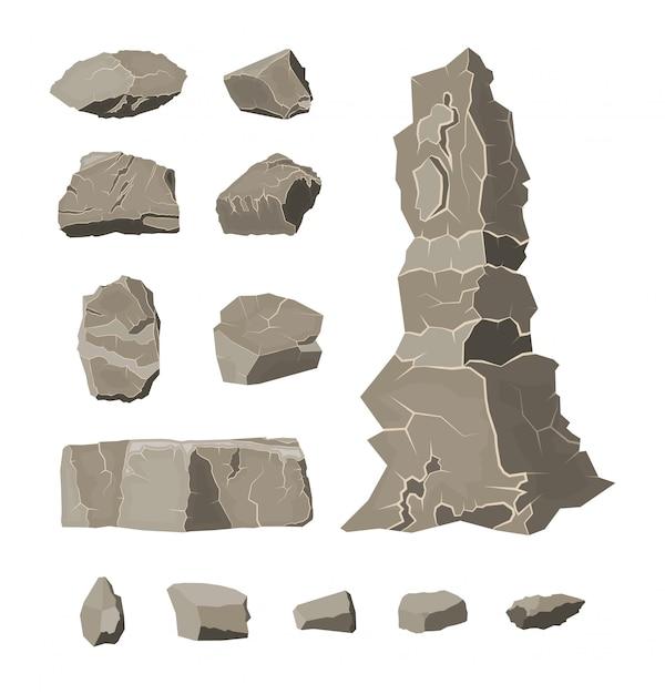 Conjunto de piedra de roca. piedras rocas en varios tamaños Vector Premium