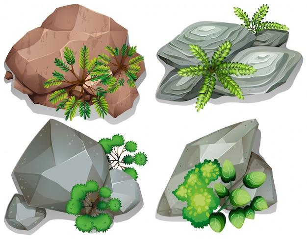 Conjunto de piedra y roca. vector gratuito