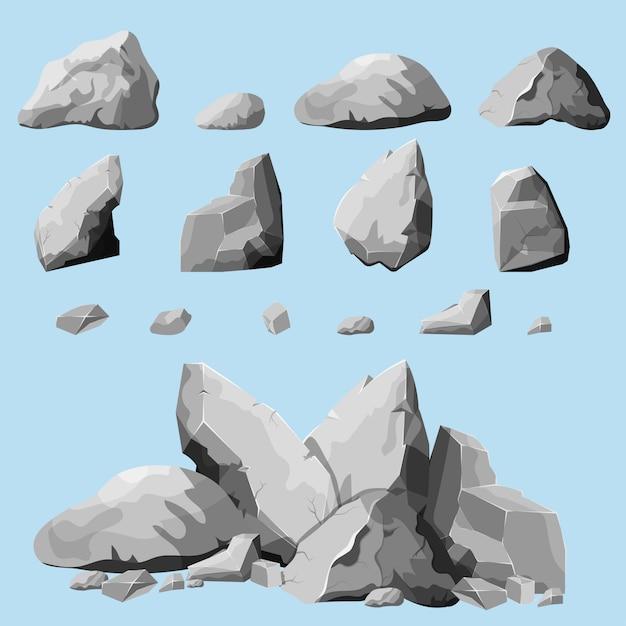 Conjunto de piedras, elementos de roca de diferentes formas y tonos de gris, conjunto de cantos rodados de estilo de dibujos animados, piedras isométricas sobre fondo blanco, simplemente puede reagrupar rocas, Vector Premium