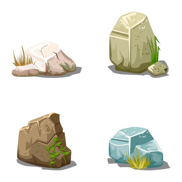 Conjunto de piedras de vector de dibujos animados Vector Premium