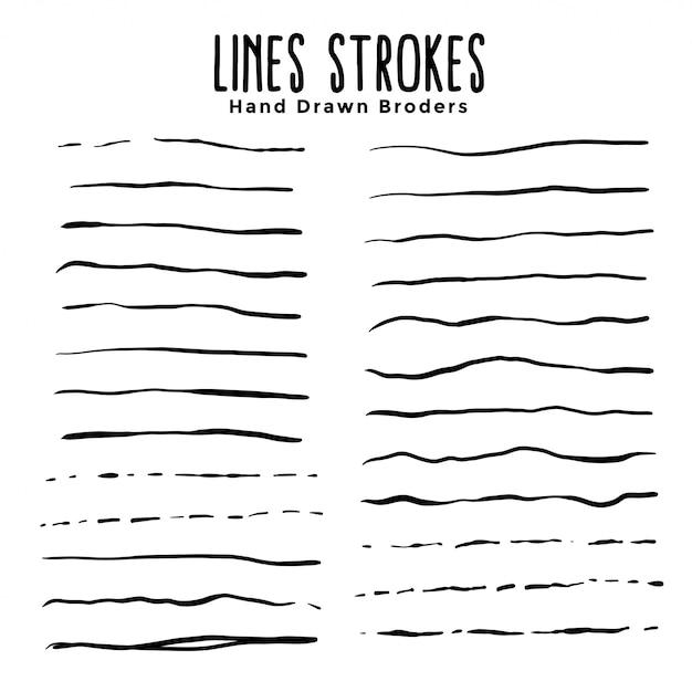 Conjunto de pinceles de trazos de líneas dibujadas a mano vector gratuito