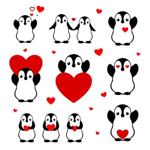Conjunto de pingüinos de dibujos animados. enamorados personajes planos aislados. decoración del día de san valentín para tarjeta. pegatinas para amantes. Vector Premium