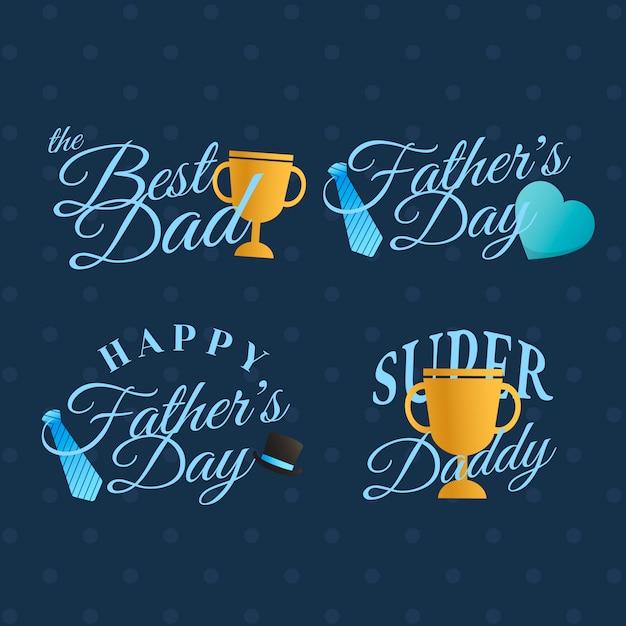 Conjunto de placa del día del padre. vector gratuito