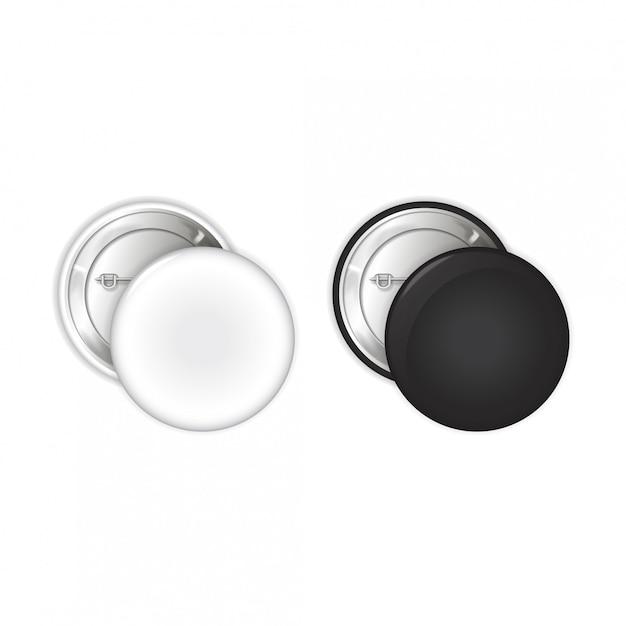 Conjunto de placas en blanco. broche de alfiler. ilustración Vector Premium
