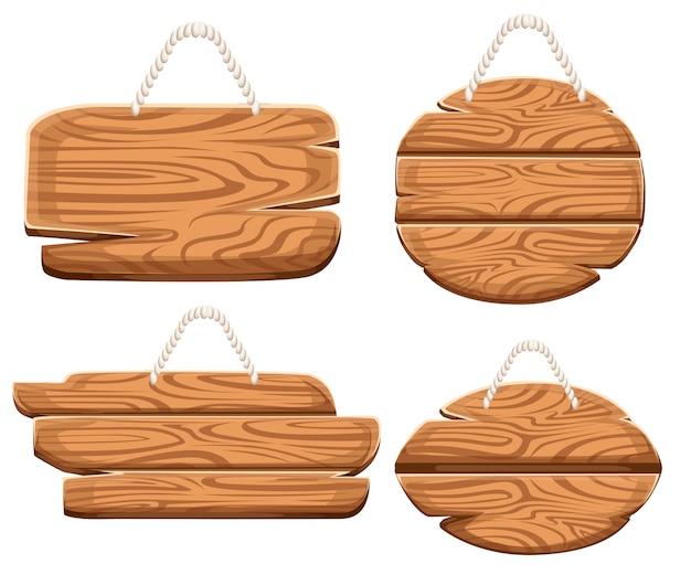 Conjunto de placas de madera en cuerda en estilo de dibujos animados. colecciones de letreros de madera. letrero de madera viejo conjunto de tablones de carretera. sobre fondo blanco. Vector Premium