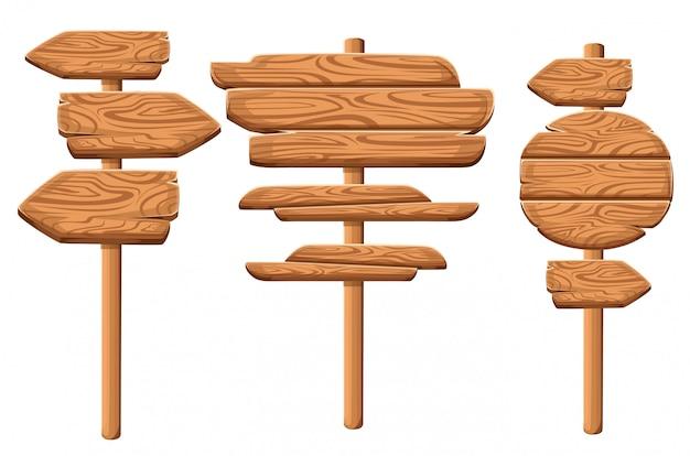 Conjunto de placas de madera en estilo de dibujos animados. colecciones de placas de madera. letrero de madera viejo conjunto de tablones de carretera. sobre fondo blanco. Vector Premium