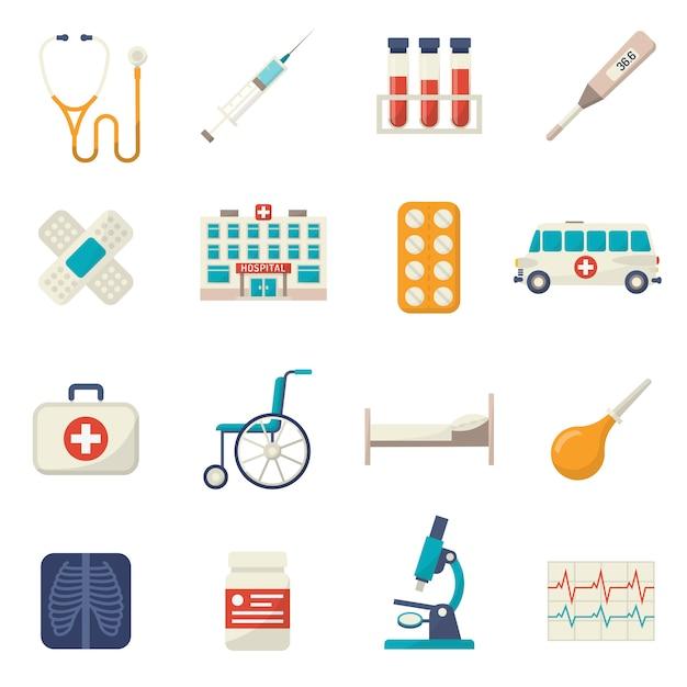 Conjunto plana de iconos médicos vector gratuito