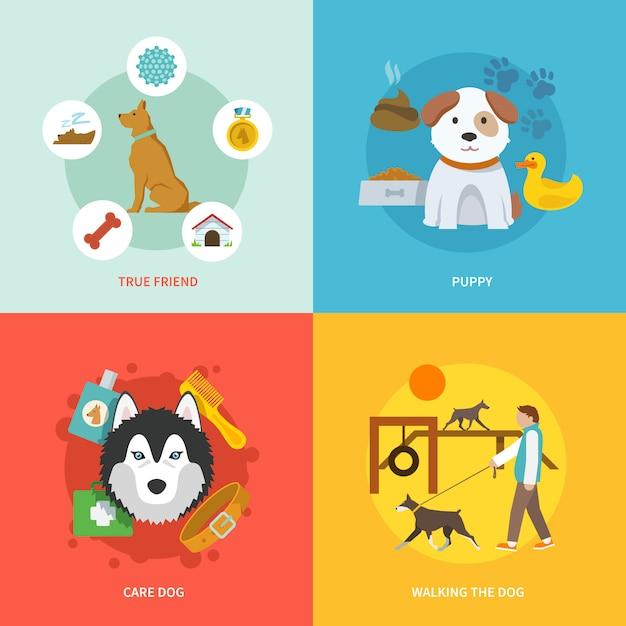 Conjunto plana de iconos de perro vector gratuito