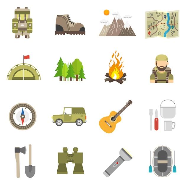 Conjunto plana de iconos de turismo vector gratuito