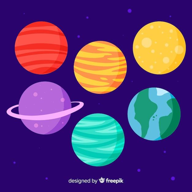 Conjunto de planetas dibujados a mano lindo vector gratuito