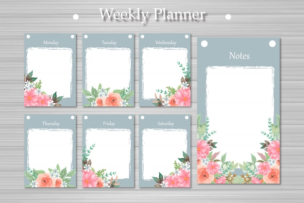 Conjunto de planificador semanal con hermosas flores y fondo abstracto de madera Vector Premium