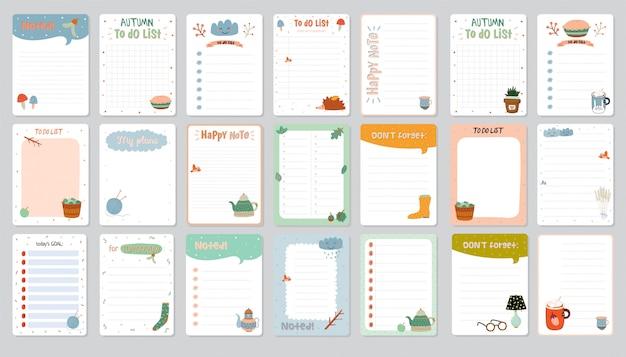Conjunto de planificadores y lista de tareas con sencillas ilustraciones escandinavas y letras de moda. Vector Premium