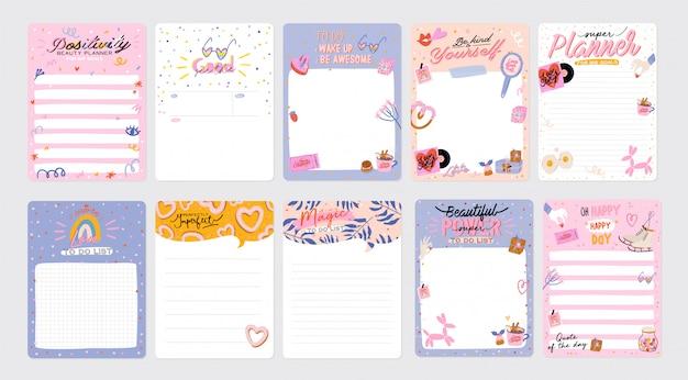 Conjunto de planificadores semanales y listas de tareas con ilustraciones de amor y letras de moda. plantilla para agenda, planificadores, listas de verificación y otros artículos de papelería para niños. . Vector Premium