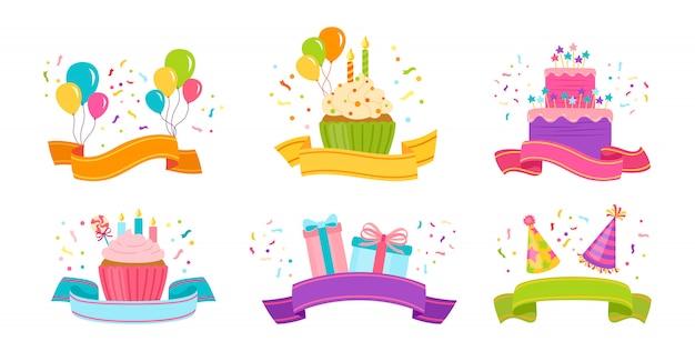 Conjunto plano de cinta de cumpleaños. cinta de dibujos animados con presente, pastel y vela, caja de regalo o cupcake. aislado Vector Premium