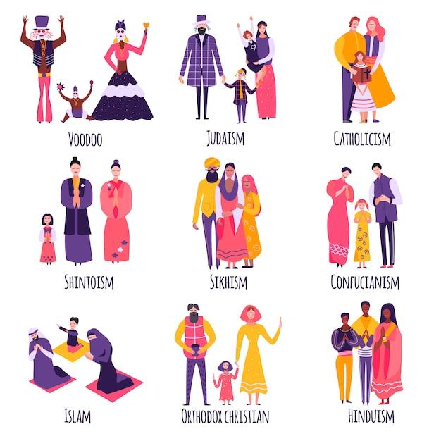 Conjunto plano de diferentes familias religiosas vector gratuito