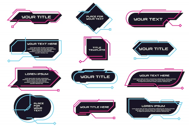 Conjunto plano de diferentes títulos y banners futuristas. vector gratuito